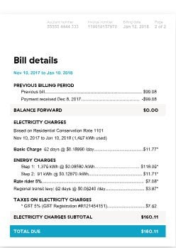 BC Hydro Electricity Bill