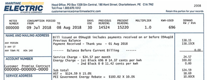 Maratime Electric Electricity Bill