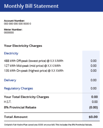 Ontario Hydro Electricity Bill