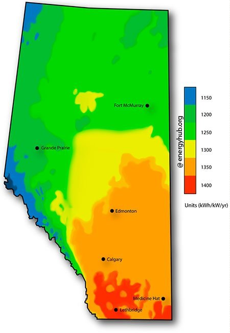 Solar Energy Map Alberta