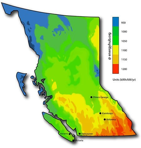 Solar Energy Map British Columbia