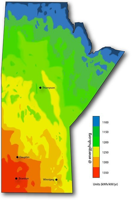 Solar Energy Map Manitoba