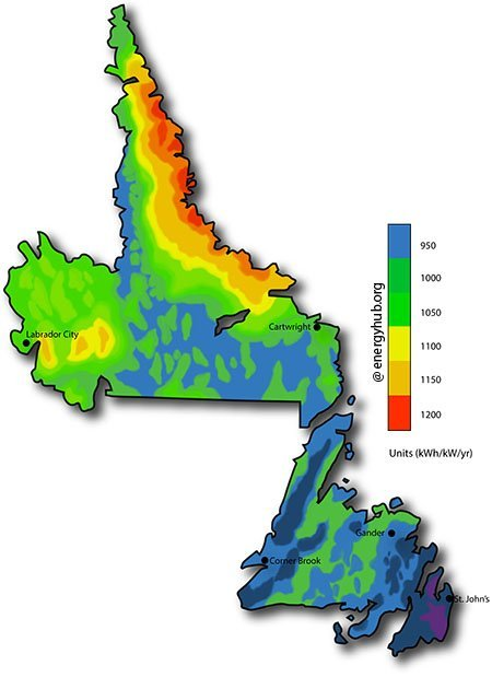 Solar Energy Map Newfoundland and Labrador