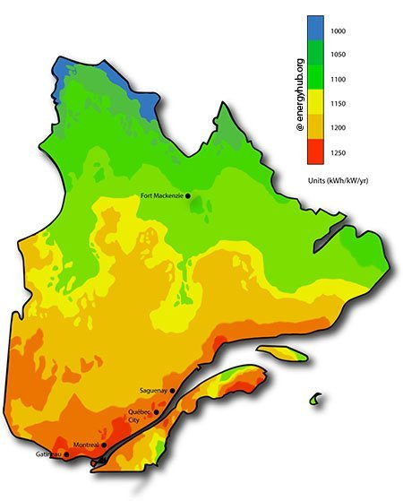 Solar Energy Map Quebec