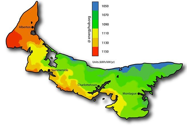Solar Energy Map Prince Edward Island
